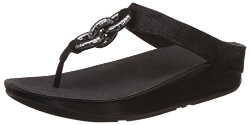 Punta Mujer Sandalias Toe Leather Fitflop black Negro Con Abierta post Para Superchain czBYwwTqa