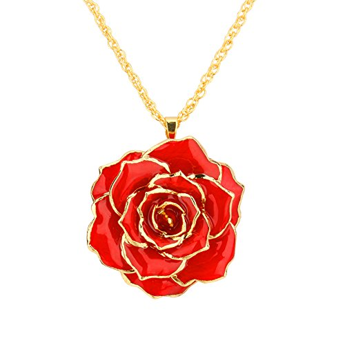 ZJchao 30mm Golden Necklace Chain with 24k Gold Dipped Real Red Rose Pendant Gift for Women (Red Gold Chain)