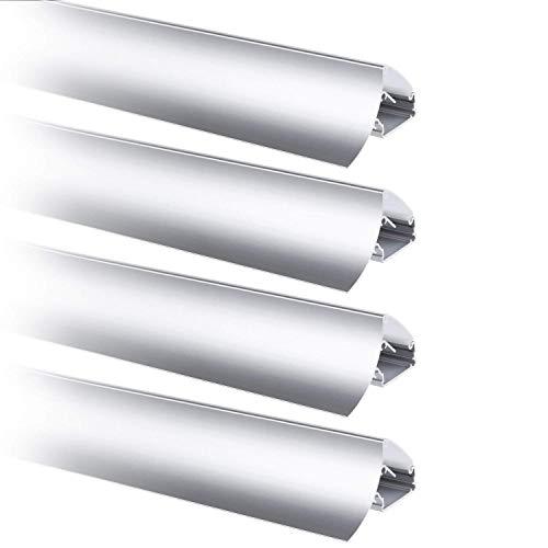 TORCHSTAR V-Shape LED Aluminum Channel for 8-10mm LED Strip Lights, DIY Cutting, Unique Design, High-Grade Materials, for Kitchen, Living Room, Patio, Pack of 4