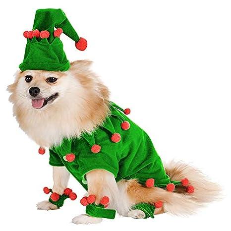 JUMOWA - Disfraz navideño para Perro, Traje Verde con Gorro ...