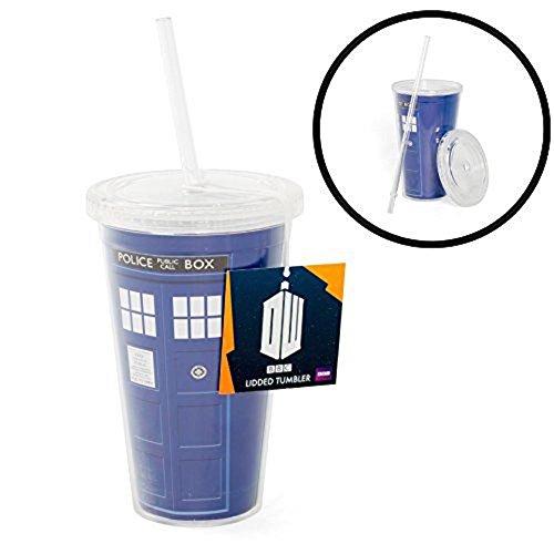 Underground Toys Doctor Who 16 oz Tardis Insulated Travel Coffee Mug with Lid & Straw ()