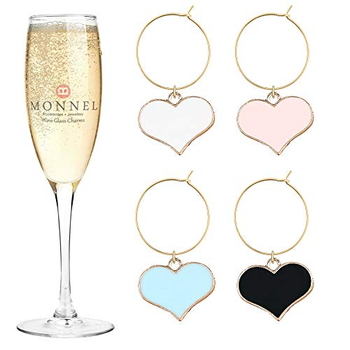 P447 Brand New Assorted Love Hearts Wine Charms Glass Marker for Party with Velvet Bag- Set of 4