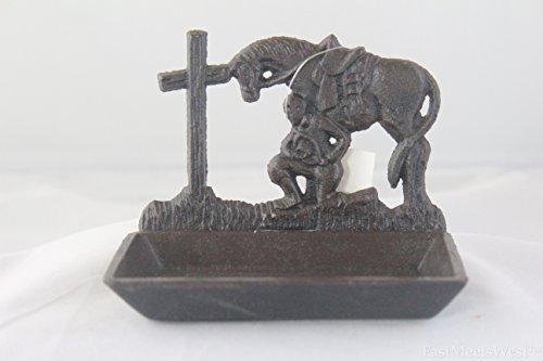 Cowboy Dish Soap (Praying Cowboy Soap Dish Cast Iron Rustic Western Cross Horse Old Rustic Look)