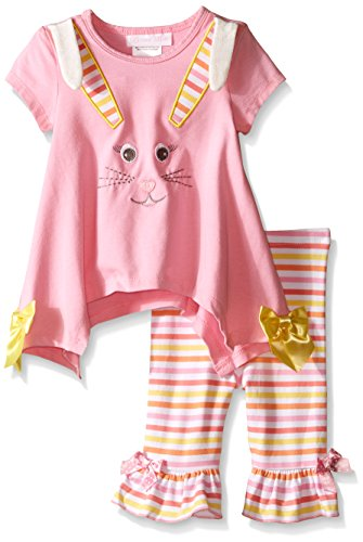 Bonnie Baby Baby Two Piece Easter Bunny Appliqued Playwear Set, Pink, 12 Months (Appliqued Bunny)