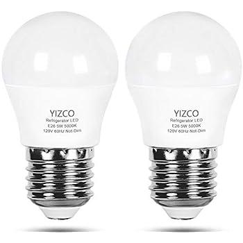 Refrigerator Light Bulb 40W Equivalent 120V Fridge Light 5 Watt Daylight 5000K with E26 Medium Base Energy Saving Freezer Ceiling Home Lighting Waterproof 2 Pack