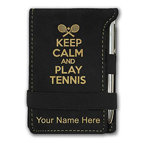 Mini Notepad, Keep Calm and Play Tennis, Personalized Engraving Included (Black)