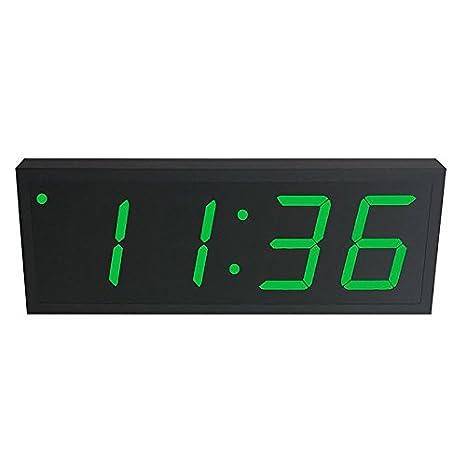 Reloj digital de precisión alimentado vía Ethernet (PoE) de 10,2 cm de altura, 4 dígitos verdes, carcasa de acero negra: Amazon.es: Electrónica