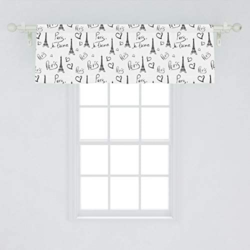 Ambesonne Paris Window Valance, World Capital City of Love French European Hand Drawn Sketch Eiffel Illustration, Curtain Valance for Kitchen Bedroom Decor with Rod Pocket, 54 X 18 , White Black