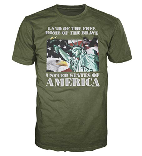 5 Star USA America Men's Graphic T-Shirt - American Flag, Patriotic, Vintage, Military, Americana Collection, Military Green/Statue of Liberty, ()