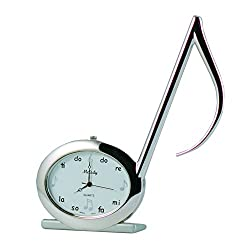 Sanis Enterprises Musical Note Clock, 4.5-Inch, Silver