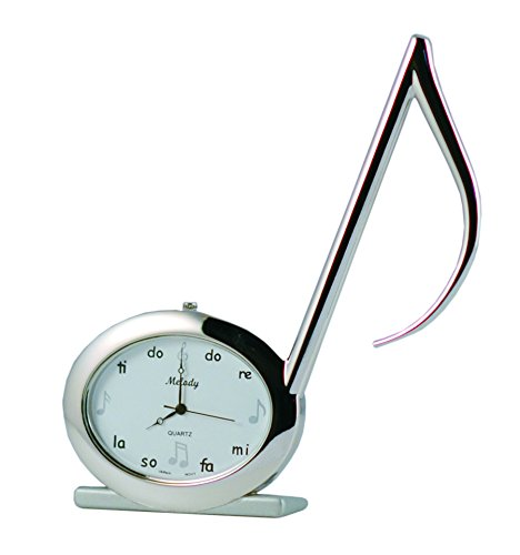 Sanis Enterprises Musical Note Clock, 4.5-Inch, Silver