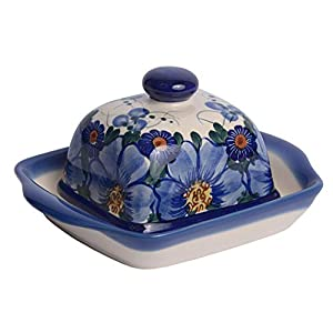 Traditional Polish Pottery, Handcrafted Ceramic Butter Dish with Lid, Boleslawiec Style Pattern, B.102.PASSION