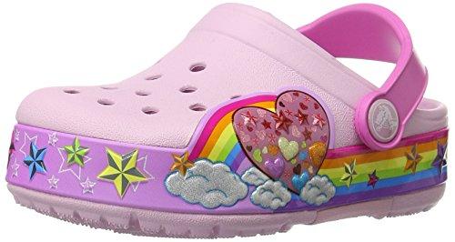 crocs Kids' CrocsLights Rainbow Heart Light-Up Clog (Infant/Toddler/Little Kid/Big Kid), Ballerina Pink, 9 M US Toddler by Crocs