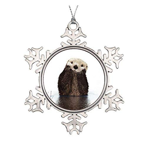 (OneMtoss Christmas Snowflake Ornament Cute Adorable Fluffy Otter Animal Ceramic Round Christmas)