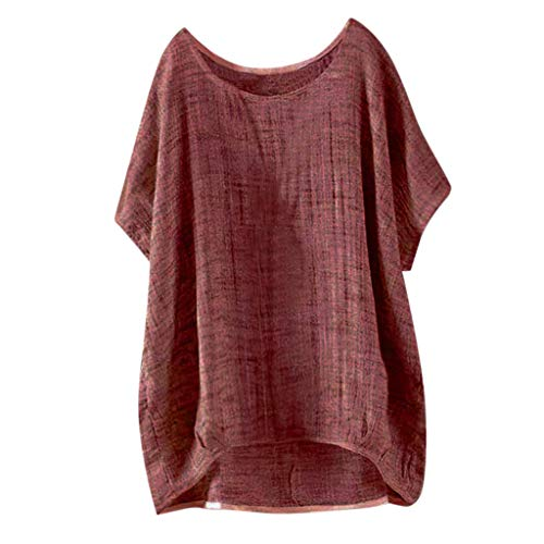 30c550c1639fc0 TnaIolral Womens Loose Top Bat Short Sleeve Summer Thin Section Blouse  Pullover T-Shirt Wine