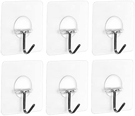 6pcs Durable Adhesive Hooks Strong Sticky Kitchen Wall Hanger Ceiling Hook /_IC