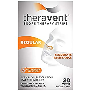 Theravent Snore Therapy Strips, Regular Strength, Moderate Resistance, Bed Partner Approved, 20 Count