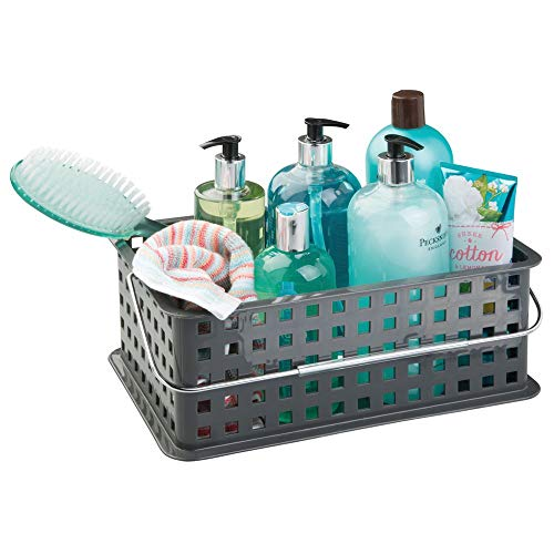 InterDesign Plastic Storage Organizer Basket with Handle for Bathroom, Health, Cosmetics, Hair Supplies and Beauty Products, 8.69 x 13.94 x 5.13, Slate Gray