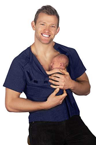 DadWare Cotton Bondaroo Skin to Skin Kangaroo Care Bonding T-Shirt (Large, Navy)