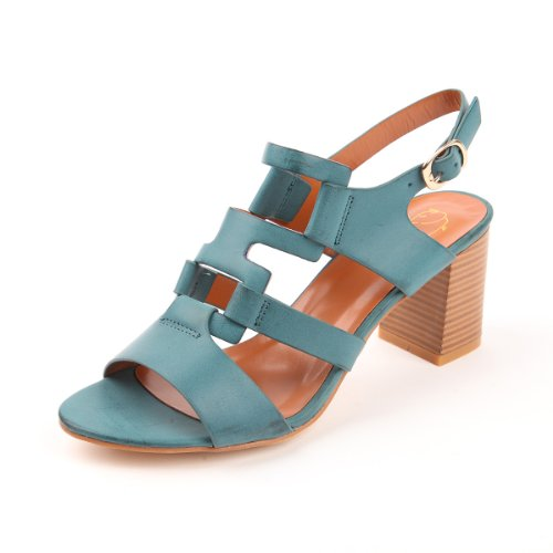 Alexis Leroy Women's Stylish Heeled Ajustable Buckle Fashion Dress Sandals (38 M EU / 7-7.5 B(M) US, Lake Blue)