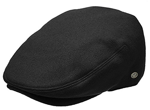Epoch Men's Classic Newsboy Cap, Flat Ivy Hat, Snap Brim Herringbone Tweed Cap (X-Large, Black)