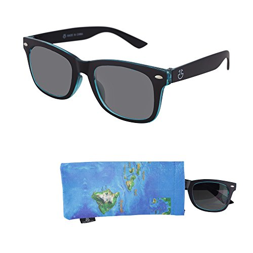 Sunglasses for Teens – Stylish Smoked Lenses for Teenagers - Reduces Glare, 100% UV Protection - Black and Blue Crystal Frame - Matching Pouch - Ages 12 to 18 - - Teenagers Sunglasses For