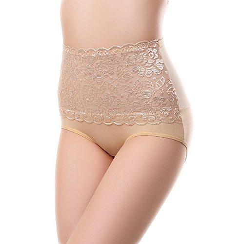 Sbra Women's High Waist Lace Panties Comfortable Underwear with High Elastic (L, Light beige)