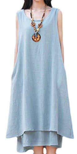Grande Tang De Lin Sans Manches D'été Des Femmes En Forme Lâche Balançoire Longue Robe Bleue