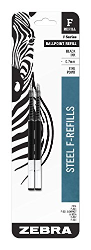 Ink Black Zebra - Zebra F-Series Ballpoint Stainless Steel Pen Refill, Fine Point, 0.7mm, Black Ink, 2-Count