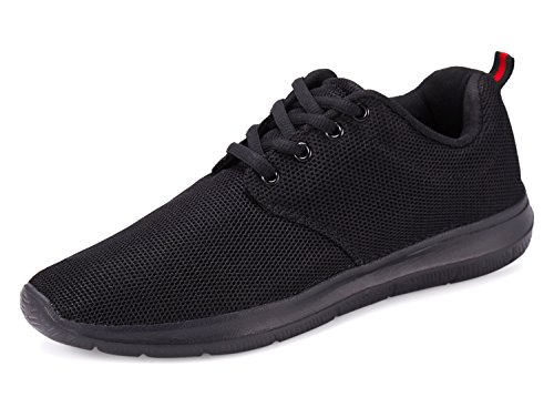 Voxge Mens Running Sneakers Mesh Trainers Sport Tennis Athletic Slip On Black Shoes For Men VSK015B1-46 (Men Tenni Shoes)