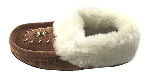 Pantofole Da Donna Scamosciate Dellinterno Laurentian Con Mocassini Con Collo Di Montone