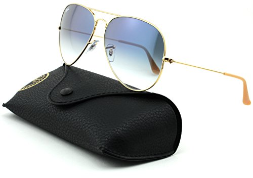 Ray-Ban RB3025 Aviator Large Metal Gradient Unisex Aviator Sunglasses (Gold Frame/Crystal Gradient Light Blue Lens 001/3F, 58) ()