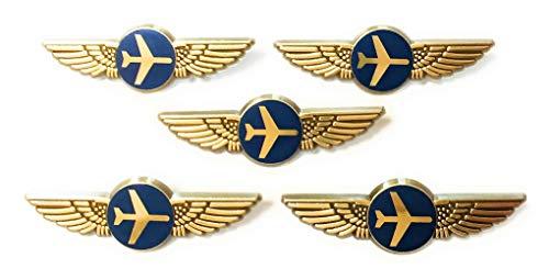 Aviator Kids Airplane Pilot Wings Plastic Pins Pinbacks Badges Lot of 5 Pins Gold
