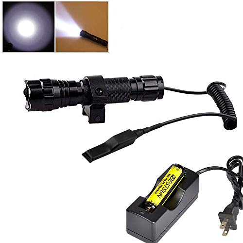 BESTSUN Tactical Flashlight Waterproof Cree Xm-L2 LED 1200 High Lumens 1 Mode 3-18V Lamp Hunting Torch with Pressure Switch and Rail Rifle Mount for Picatinny AR (18650 Battery and Charger ()