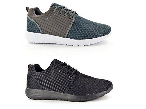 Baskets Chaussures de Course Homme Maille à Lacets Légères Décontractées Confortables pour Gym Sports Pointure 40-45 - - gris,