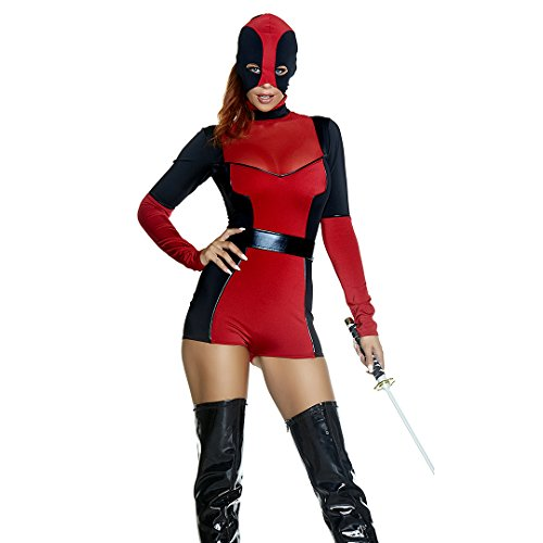 Forplay Women's Hunt You Down Sexy Movie Character Costume, Red, S/M - 80's Movie Characters Costumes
