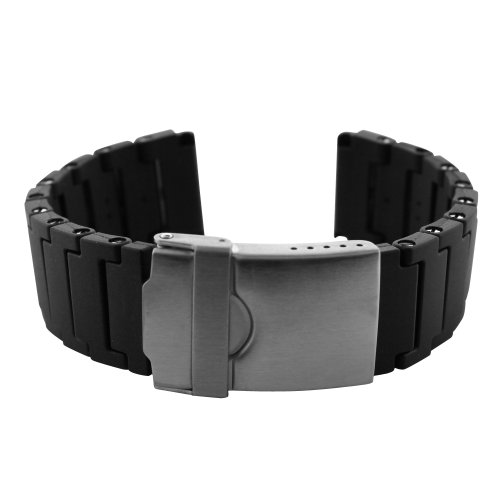 Polyurethane Black Link Bracelet Watch Band 24mm - PU66