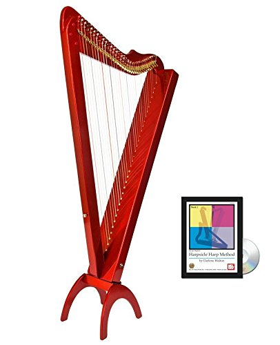 33 String Acoustic/Electric Grand Harpsicle Harp - Red by Harpsicle Harps