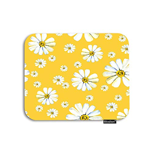 Daisy Flower Rubber - Moslion Daisy Mouse Pad White Camomile Flower in Yellow Garden Botanical Plant Floral Gaming Mouse Pad Rubber Large Mousepad for Computer Desk Laptop Office Work 7.9x9.5 Inch