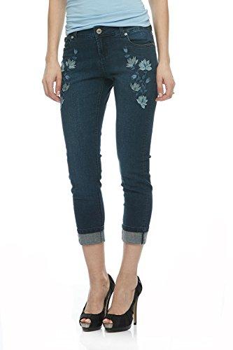 Spring Capri Jeans - Suko Jeans Womens Stretch Denim Embroidery Capri 18009 Flower DARKBLUE 10