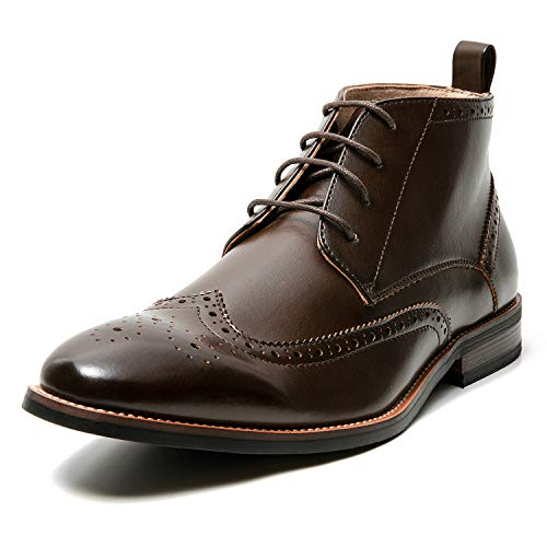 Men's Oxford Dress Leather Lined Cap Toe Angle Boots(13 M US,Brown-3)