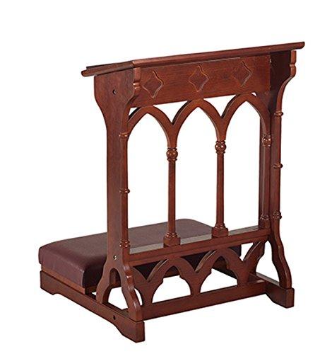 Eastern Maple Hardwood Gothic Padded Kneeler in Walnut Stain Finish, 24 Inch