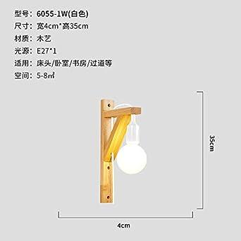 Luz Lámpara de pared viento industrial interruptor de cinturón de madera maciza pasillo de enchufe escalera minimalista lámpara de dormitorio mo: Amazon.es: Iluminación
