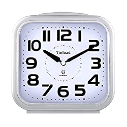 5.5 Silent Analog Alarm Clock Non Ticking, Gentle Wake, Beep Sounds, Increasing Volume, Battery Operated Snooze and Light Functions, Easy Set, Silver (Best for Elder)