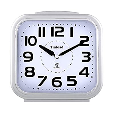 """5.5"""" Silent Analog Alarm Clock Non Ticking, Gentle Wake, Beep Sounds, Increasing Volume, Battery Operated Snooze and Light Functions, Easy Set, Silver (Best for Elder) - Super Large Size-- Size: 5.5"""" x 5.5"""" x 2.3"""". Alarm clock stands up at an angle, high quality plastic, square face with white dial, black Arabic numerals, good decoration for tabletop, desk & shelf, bedrooms. Also large size screen and clear bold digits to display time, perfect alarm clock for elderly. Completely Silent-- Super quiet concise design alarm clock without annoying tick tock sound, ideal for those who need complete silence to fall asleep. Snooze and Light Function-- Snooze and light button locates on easy-to-find top place. Hold button down for 5 minutes snooze or to light up the clock face on demand to see the dial momentarily in the darkness. - clocks, bedroom-decor, bedroom - 417yTHn%2BkGL. SS400  -"""