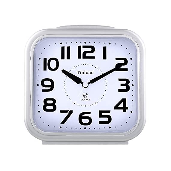 "5.5"" Silent Analog Alarm Clock Non Ticking, Gentle Wake, Beep Sounds, Increasing Volume, Battery Operated Snooze and Light Functions, Easy Set, Silver (Best for Elder) - Super Large Size-- Size: 5.5"" x 5.5"" x 2.3"". Alarm clock stands up at an angle, high quality plastic, square face with white dial, black Arabic numerals, good decoration for tabletop, desk & shelf, bedrooms. Also large size screen and clear bold digits to display time, perfect alarm clock for elderly. Completely Silent-- Super quiet concise design alarm clock without annoying tick tock sound, ideal for those who need complete silence to fall asleep. Snooze and Light Function-- Snooze and light button locates on easy-to-find top place. Hold button down for 5 minutes snooze or to light up the clock face on demand to see the dial momentarily in the darkness. - clocks, bedroom-decor, bedroom - 417yTHn%2BkGL. SS570  -"