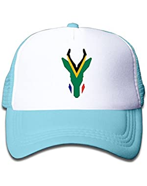 South African Flag Sprinbok On Boys and Girls Trucker Hat, Youth Toddler Mesh Hats Baseball Cap