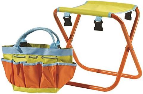 Briers BRI122KS Children's Garden Tool Bag Seat Storage, Orange/Blue/Green, 0.31x10x38 cm