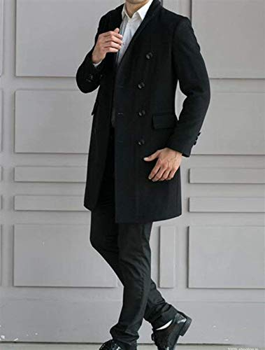 Winter Wool Apparel Men's Coat Huixin Double Sleeve Warm Jackets Winter Lapel Jacket Long Coat Fit Vintage Coat Men's Coat Slim Breasted Fashion Schwarz Hwxx0qC