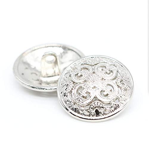 ZQMALL New 10pcs 1 inch Metal Jacket Button,Blazer Button Set,Hollow Metal Sewing Button - 25mm Antique Vintage Beautiful Suits Button Set for Blazer, Suits, Coat, Uniform, Jacket,Silver,Q2024
